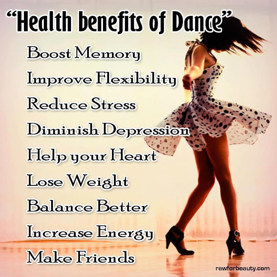 benefits of dancing Some took the dance classes, which met twice a week for an hour, while others enrolled in a health education program, which served as the control group at the end of the study, both groups had increased their physical activity, but the dance group improved more.